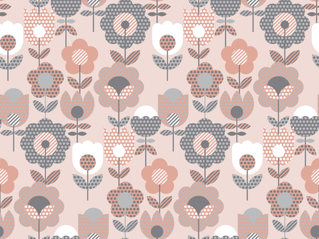 Vintage pale pink geometric flower seamless pattern. Retro inspired pastel color repeatable floral motif for fabric, wrapping paper, background.