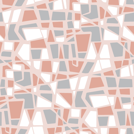 Abstract stone mosaic geometric seamless pattern. Tender pastel color repeatable geometry motif for fabric, wrapping paper, background.