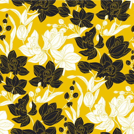 Hand drawn doodle orchid flower seamless pattern for fabric, wrapping paper, surface design projects.