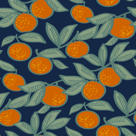 Bright xmas mandarin on night blue background seamless pattern. Vector illustration for fabric, wrapping paper, surface design projects. Ilustração