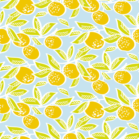 Orange mandarin on sky blue background seamless pattern for fabric, wrapping paper, surface design projects.