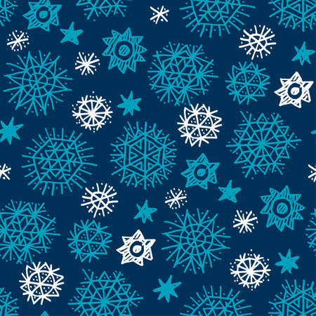 Hand drawn night stars and snowflakes seamless pattern. Xmas  holiday simple motif. Christmas wrapping paper design.