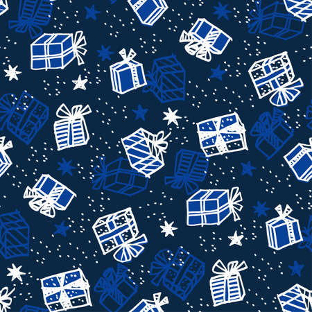 Xmas gift box seamless pattern in naive style. Christmas holiday simple hand drawn motif. Winter cute wrapping paper design.