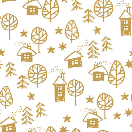 Xmas forest with houses in naive style seamless pattern. Christmas holiday simple hand drawn motif. Winter cute wrapping paper design. Ilustrace