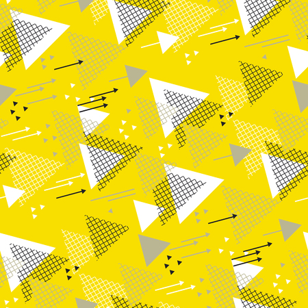 Abstract triangle direction geometric seamless pattern. Yellow and black repeatable motif for wrapping paper, fabric, background, surface design Illustration