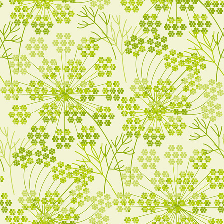 Abstract dill or fennel geometric seamless pattern. Garden herbs repeatable motif for fabric, wrapping paper Çizim