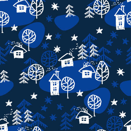 Xmas forest with houses in naive style seamless pattern. Christmas holiday simple hand drawn motif. Winter cute wrapping paper design. 向量圖像