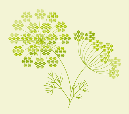 Abstract geometric dill or fennel design element. Natural green shades laconic motif for traditional folk cousin projects. Illustration