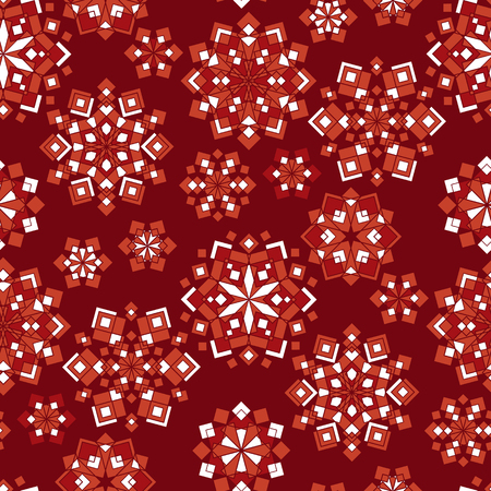 Geometric shapes color seamless pattern. Abstract mosaic flowers, flake texture. Red ornamental background with chaotic mandalas. Decorative kaleidoscope textile, wallpaper, wrapping paper vector fill
