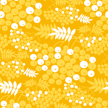 Rowan branches vector seamless pattern. Yellow and white texture with rowanberry. Vintage background fill with rowan twigs, berries, leaves. Botanical textile, wallpaper, wrapping paper illustration