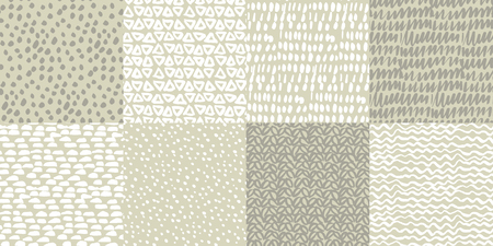 Abstract hand drawn simple patterns set. Grunge textures collection. Grey and white minimalistic background with spots, lines, scribbles, dots. Sketch textile, wallpaper, wrapping paper vector fill Ilustrace