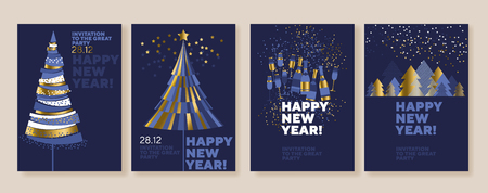 New Year and abstract Christmas tree posters collection. Gold and blue xmas minimal illustration for winter design projects, office party invitation, postcards. Ilustrace
