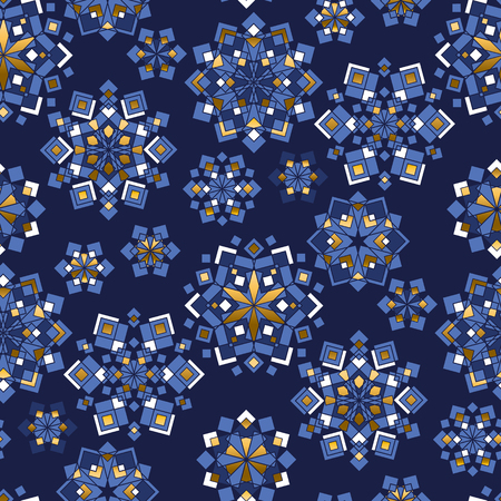 Blue and gold xmas snowflakes geometric seamless pattern. Christmas crystals simple mosaic repeatable motif for wrapping paper, background, winter design projects.