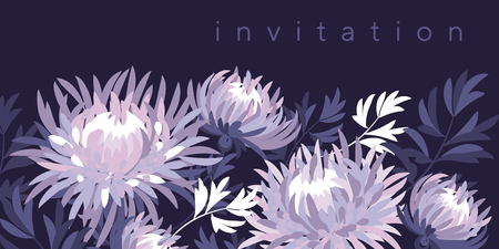 Violet asters blossom color invitation template. Blooming flowers vintage texture. Bright colored chrysanthemums on purple background with typography. Decorative floral postcard, poster vector design Ilustrace