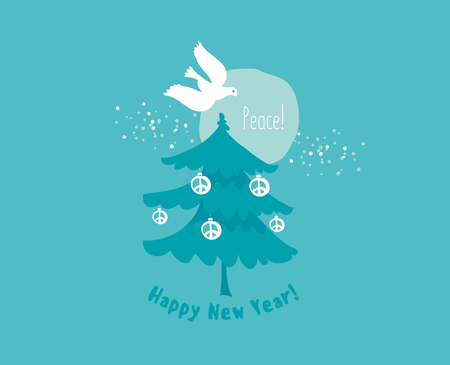 Elegant laconic xmas tree with peace pigeon. Vector illustration, template for Christmas and new year card.
