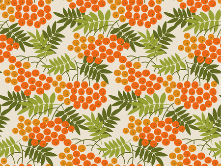 Rowanberry vector seamless pattern. Color texture with rowan branches. Vintage background fill with plant twigs, autumn red berries. Botanical textile, wallpaper, wrapping paper illustration Ilustrace