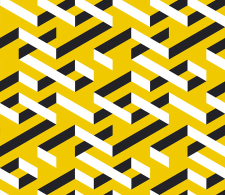 Geometric maze color 3d seamless pattern. Abstract labyrinth texture. Black and white twisted weaves optical illusion on yellow background. Minimalistic textile, wallpaper, wrapping paper vector fill Ilustrace