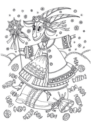Christmas fairytale goat in traditional ukrainian winter clothes. Hand drawn coloring with xmas folk goat-girl and sweets bag.