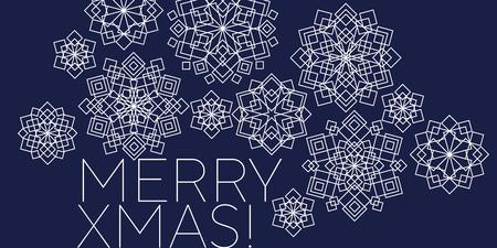 Folk style snowflakes Christmas decorative motif. Luxury xmas snowflakes geometric illustration winter design projects, office party invitation, postcards. Ilustrace