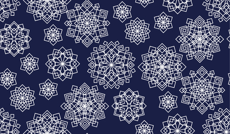 Geometric shapes seamless pattern. White abstract mosaic snowflakes, flowers texture. Dark blue ornamental background with chaotic mandalas. Decorative kaleidoscope textile, wallpaper vector fill