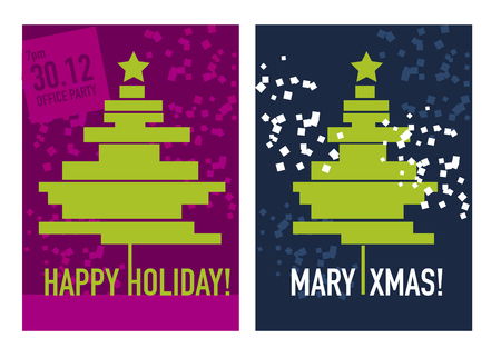 Simple geometric xmas tree vector illustration for party poster, greeting card, advertising, sale anointment. Laconic minimal concept Christmas tree