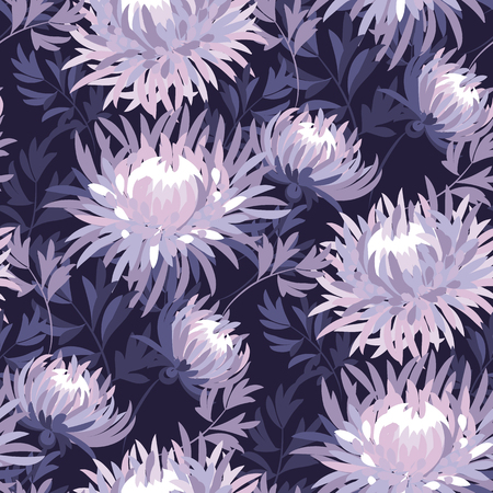 Floral seamless color pattern. Purple blooming flowers vintage texture. Violet blossoming asters, chrysanthemums soft background. Decorative natural textile, wallpaper, wrapping paper vector fill Ilustrace