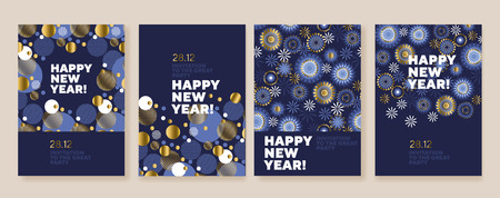 New Year and Christmas posters collection. Gold and blue xmas laconic illustration for winter design projects, office party invitation, postcards. Ilustrace