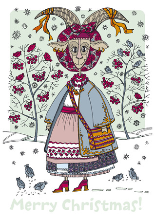 Hand drawn naive illustration with xmas folk goat-girl, birds and berries. Christmas fairytale goat in traditional ukrainian winter clothes. Ilustrace