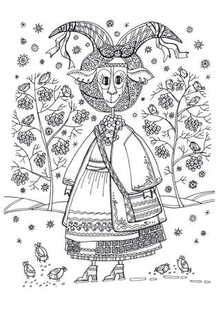 Hand drawn coloring with xmas folk goat-girl, birds and berries. Christmas fairytale goat in traditional ukrainian winter clothes.
