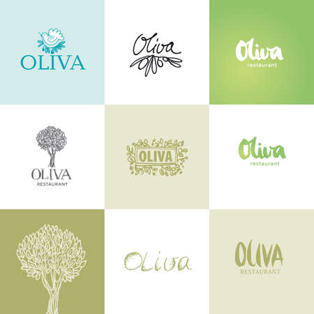 Olive logo color vector templates set. Hand drawn, sketch, typography, grunge Oliva lettering. Branding ideas isolated cliparts collection. Natural cosmetics, restaurants, cafe logotypes design Ilustrace