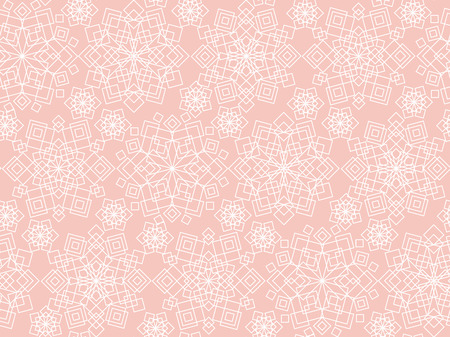Pastel rosy Christmas frost flower seamless pattern. Luxury tender xmas snowflakes geometric repeatable motif for wrapping paper, background, winter design projects.