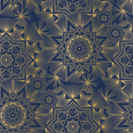 Geometric color seamless pattern. Abstract linear shapes texture. Blue and orange ornamental background with engraved mandalas. Decorative ornate textile, wallpaper, wrapping paper vector fill Ilustrace