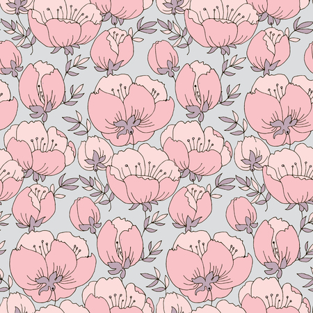 Pink flowers seamless hand drawn pattern. Floral vintage texture. Soft pastel background with blooming. Blossom outline drawing. Decorative natural textile, wallpaper, wrapping paper vector fill