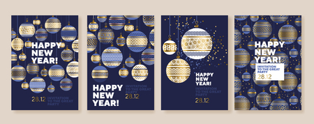 New Year and Christmas baubles posters collection. Gold and blue xmas luxury illustration for winter design projects, office party invitation, postcards. Ilustrace
