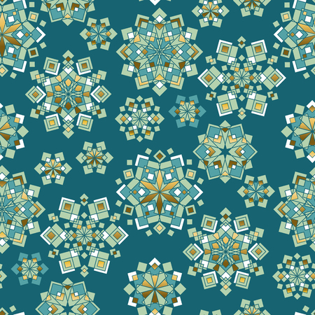 Green and gold Christmas decorative seamless pattern. Luxury xmas snowflakes geometric repeatable motif for wrapping paper, background, winter design projects. Ilustrace