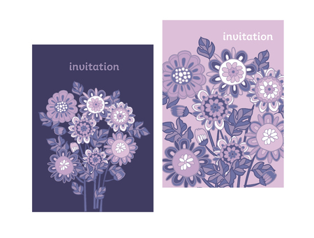 Ornate flowers bouquets color vector illustration. Floral hand drawn composition. Violet blossom background. Spring purple blooming. Greeting card, invitation, poster ornamental design elements  イラスト・ベクター素材