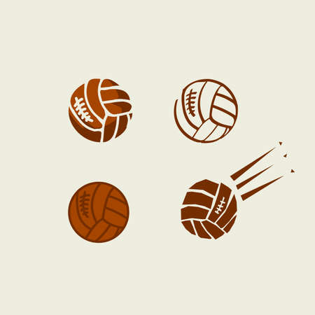 Volleyball balls color illustrations set. Hand drawn, silhouette, outline, cartoon brown cliparts. Volleyball competition, tournament, league logo. Sports equipment. Isolated vector design elements 向量圖像