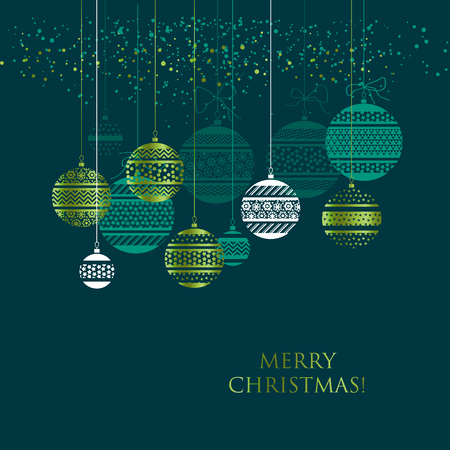 Merry Christmas color greeting card template. Gradient lettering and Xmas decorations in green colors. Christmas patterned baubles, balls hanging on thread. Holiday web banner, poster design layout