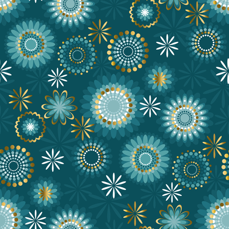 Luxury floral style snowflakes seamless pattern. Deep emerald green repeatable motif. Vector stock illustration.