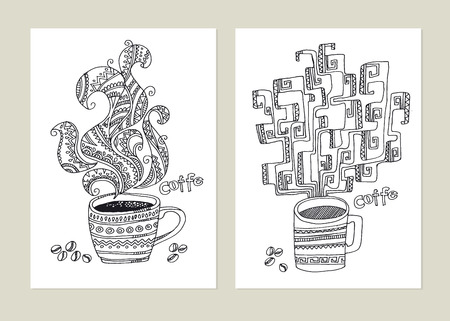Coffee cup with steam naive line art coloring. tribal and folk style tea mug vector illustration. Black and white engrave doodle image.