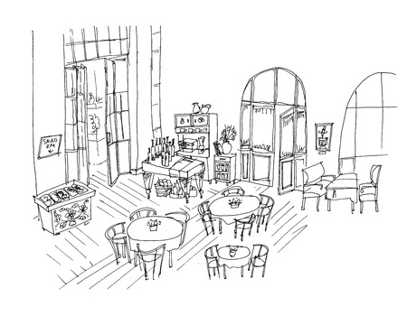 Cafe interior hand drawn linear illustration. Restaurant with furnishing black ink pen sketch. Bistro, cafeteria, eatery freehand contour drawing. Dining hall, sweet bar perspective outline vector