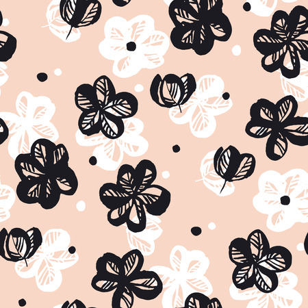 Spring flowers hand drawn seamless pattern. Black and white sakura blooming sketch texture. Cherry blossom vintage pink background. Floral textile, wallpaper, wrapping paper vector fill