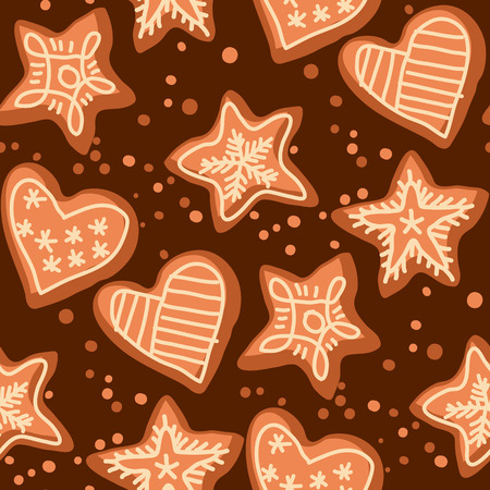 Christmas hand drawn seamless pattern. Doodle texture with Xmas gingerbread cookies, biscuits. Winter holiday color background fill with hearts and stars. New Year wrapping paper sketch illustration Ilustrace