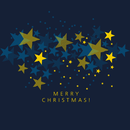 Geometric yellow star on deep blue background. Card template for Christmas and new year. decorative greeting postcard, header, web banners. vector illustration backdrop Ilustrace