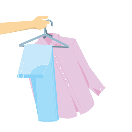hand holding pants and shirt on hangers. simple laconic stock vector illustration.