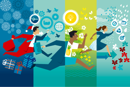 Businessmen running whole year flat vector color illustration. Job rush. Workaholics cartoon character. Office worker hurry up four seasons. Non stop business routine in summer, winter, autumn, spring Ilustrace