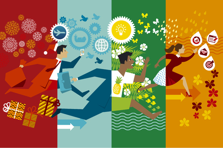 Running businessmen flat vector color illustration. Office workers hurrying up through seasons cartoon characters. Whole year job rush with no rest. Non stop business routine in winter, summer, autumn