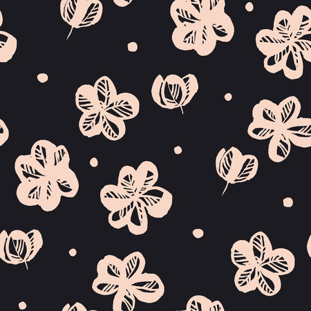 Floral hand drawn seamless pattern. Bright pink blooming. Spring flowers and buds sketch texture. Sakura, cherry blossom vintage black background. Soft textile, wallpaper, wrapping paper vector fill