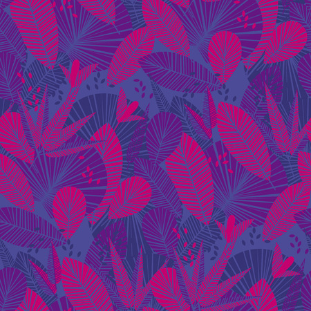 Tropic color vector seamless pattern. Banana, palm leaves silhouettes texture. Background with blue, violet and pink tropical plants. Decorative hawaiian textile, wallpaper, wrapping paper vector fill