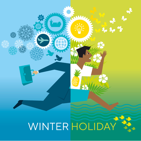 Running businessman flat vector color illustration. Winter holiday lettering. Office worker rushing through seasons cartoon character. Man with briefcase hurries up on vacation. Poster design template